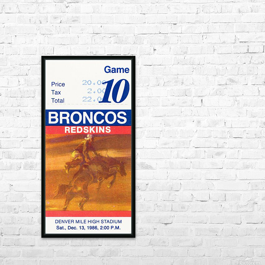 1986 Denver Broncos vs. Washington  HD Sublimation Metal print with Decorating Float Frame (BOX)