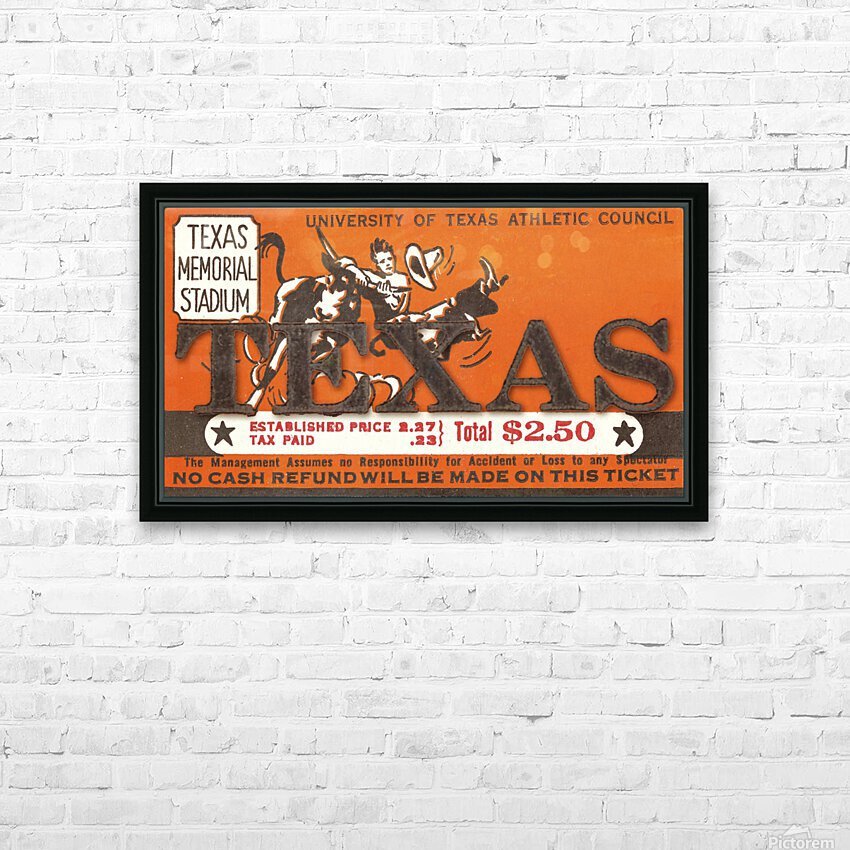 Vintage Thirties Texas Longhorn Football Ticket Remix Art HD Sublimation Metal print with Decorating Float Frame (BOX)