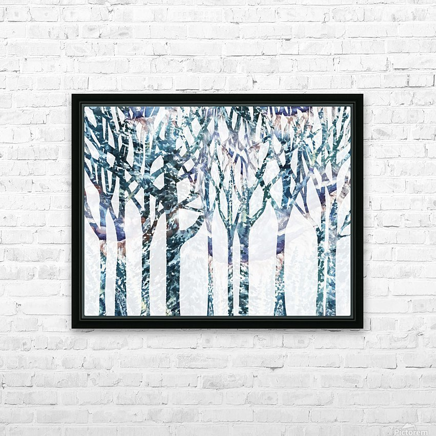 Watercolor Forest Silhouette Winter HD Sublimation Metal print with Decorating Float Frame (BOX)