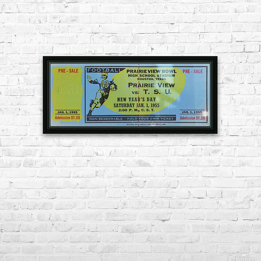 1955 Prairie View AM Panthers vs. Texas Southern Tigers Ticket Stub Art  HD Sublimation Metal print with Decorating Float Frame (BOX)
