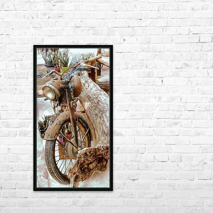 Old Rusty Motorbike Against Tree Stump HD Sublimation Metal print with Decorating Float Frame (BOX)