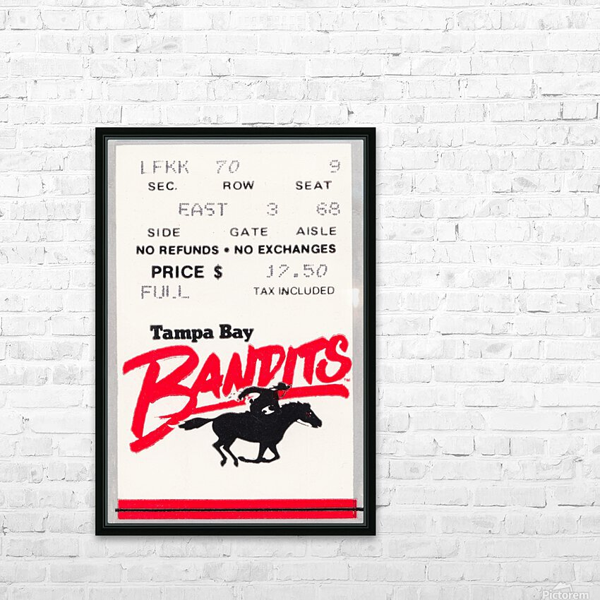 1985 Tampa Bay Bandits Ticket Stub Art HD Sublimation Metal print with Decorating Float Frame (BOX)