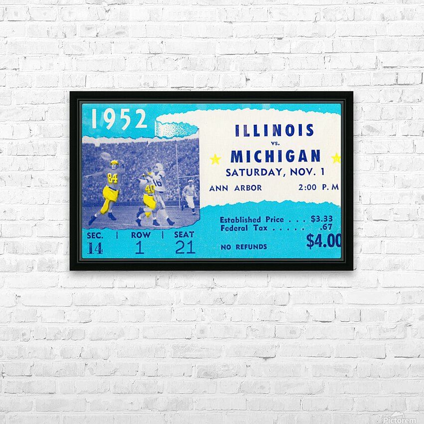 1952 Illinois vs. Michigan Football Ticket Stub Art HD Sublimation Metal print with Decorating Float Frame (BOX)