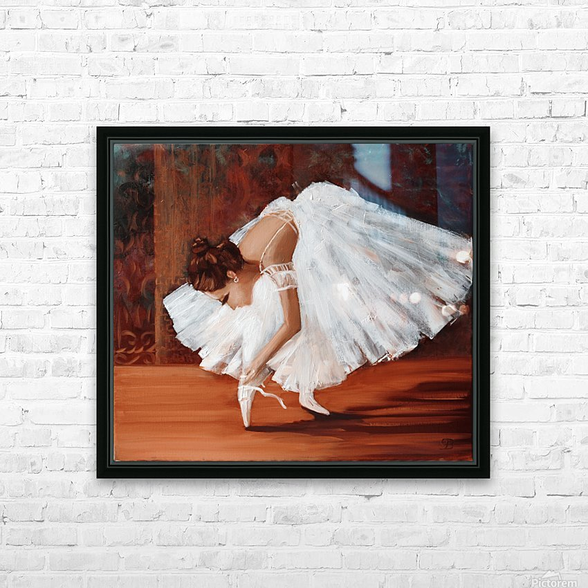 Ballerina fixing her slippers HD Sublimation Metal print with Decorating Float Frame (BOX)