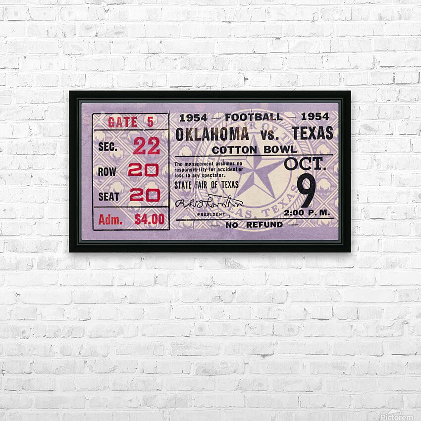 1954 Oklahoma Sooners vs. Texas Longhorns HD Sublimation Metal print with Decorating Float Frame (BOX)