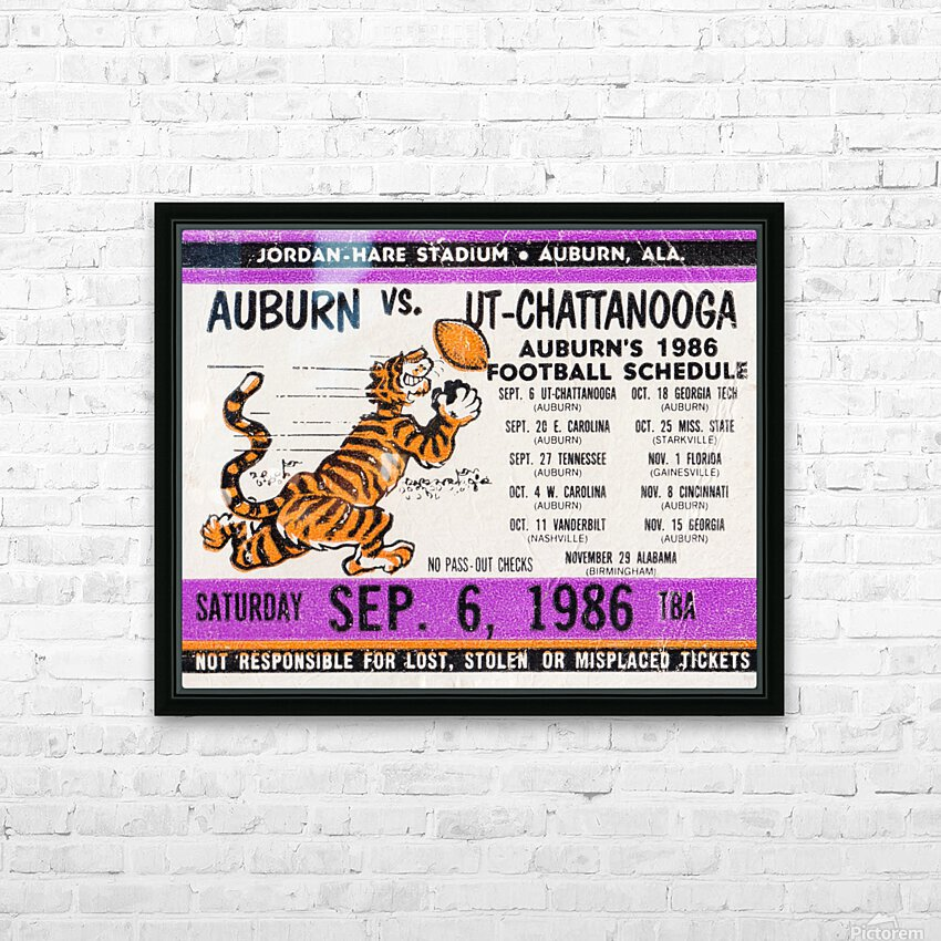 1986 Auburn Tigers vs. Chattanooga Mocs  HD Sublimation Metal print with Decorating Float Frame (BOX)