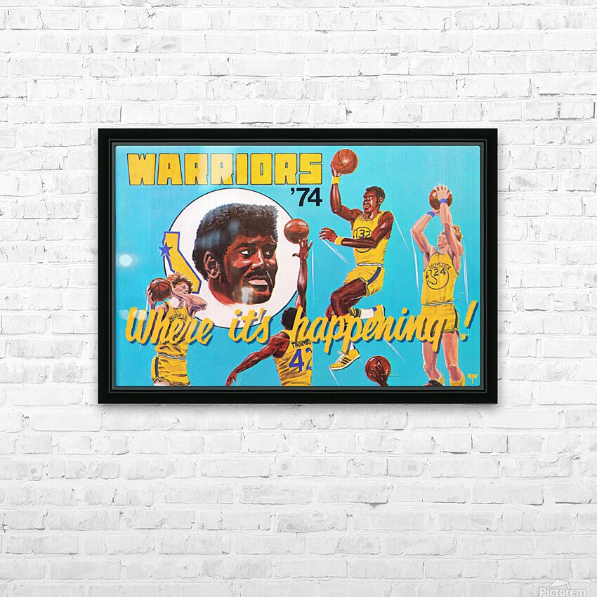 1974 Golden State Warriors Retro Remix Art HD Sublimation Metal print with Decorating Float Frame (BOX)