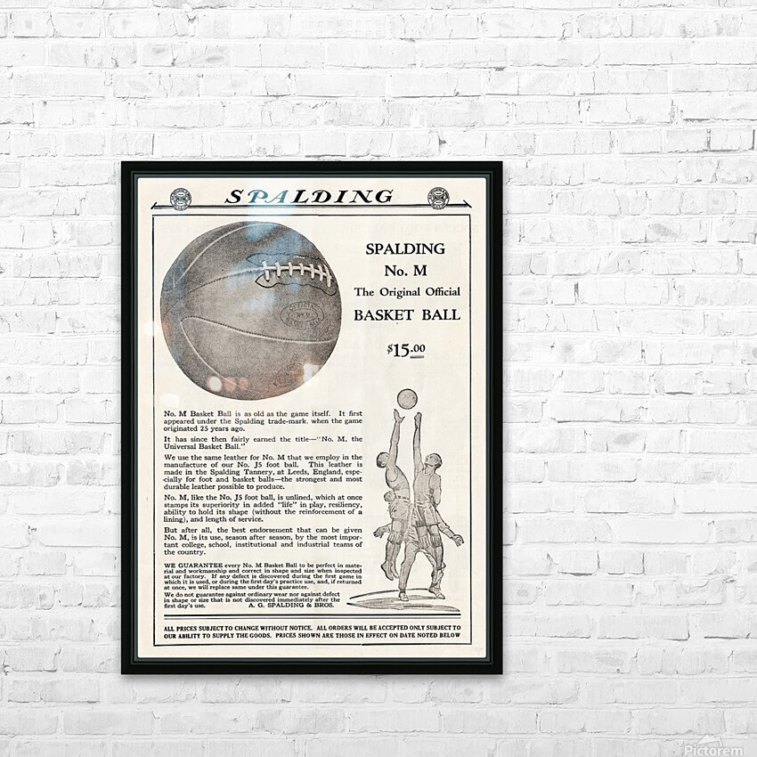 1921 Spalding Basketball Advertisement Poster HD Sublimation Metal print with Decorating Float Frame (BOX)