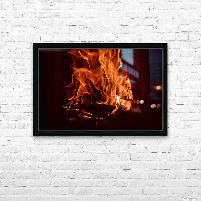Fierce fire flames in the fireplace HD Sublimation Metal print with Decorating Float Frame (BOX)
