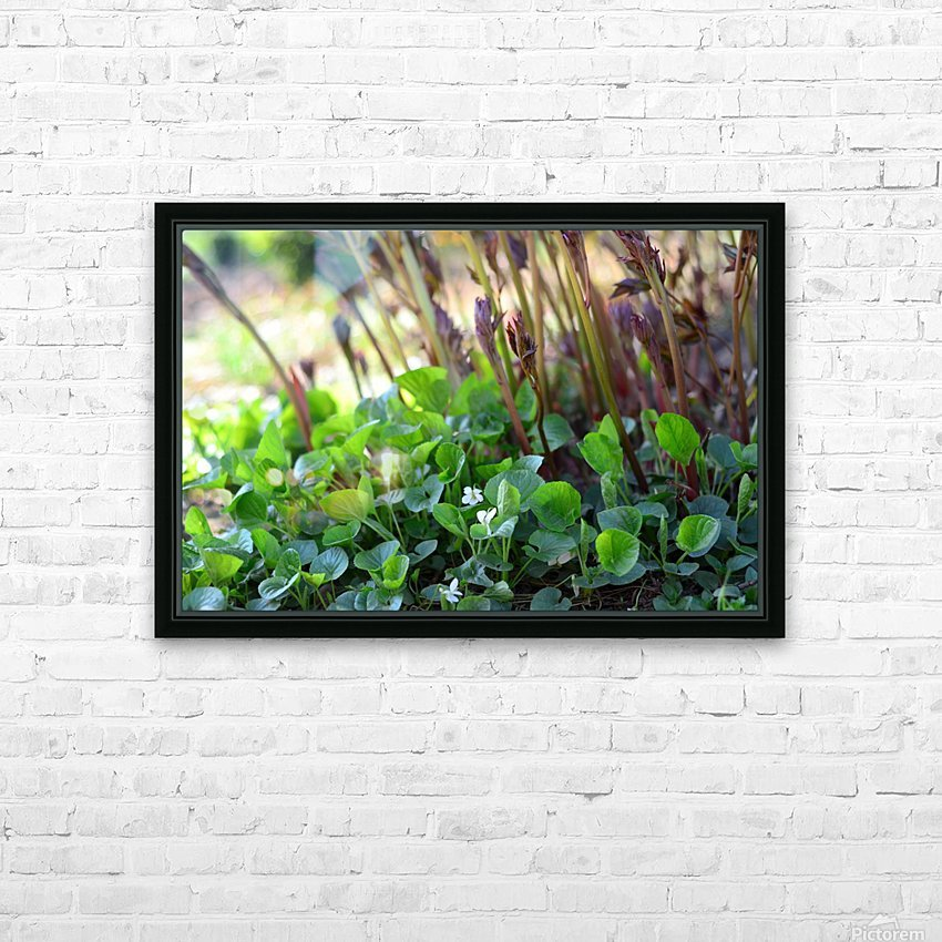 White sweet violets and peony sprouts HD Sublimation Metal print with Decorating Float Frame (BOX)