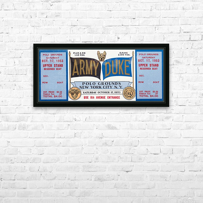 1953 Duke vs. Army Football Ticket Stub Art HD Sublimation Metal print with Decorating Float Frame (BOX)