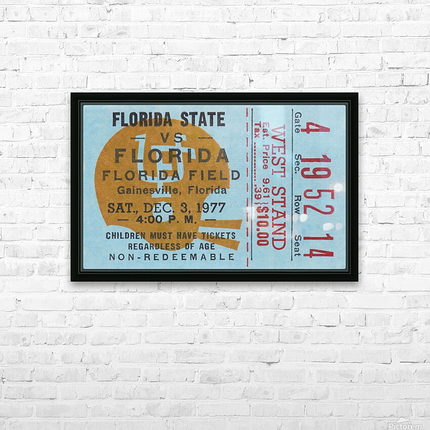 1977 Florida State vs. Florida Football Ticket Art HD Sublimation Metal print with Decorating Float Frame (BOX)