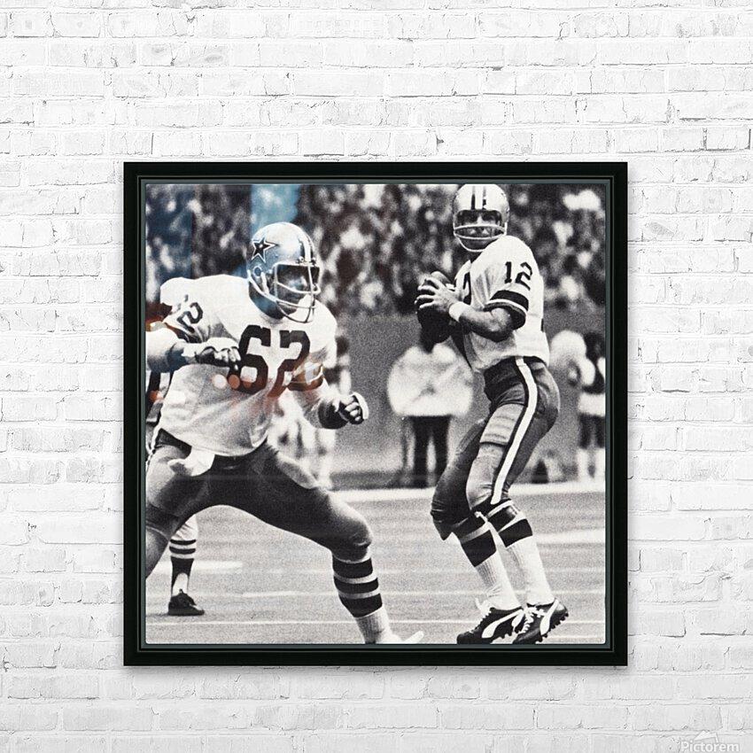 Retro Dallas Cowboys Roger Staubach Photo Art HD Sublimation Metal print with Decorating Float Frame (BOX)