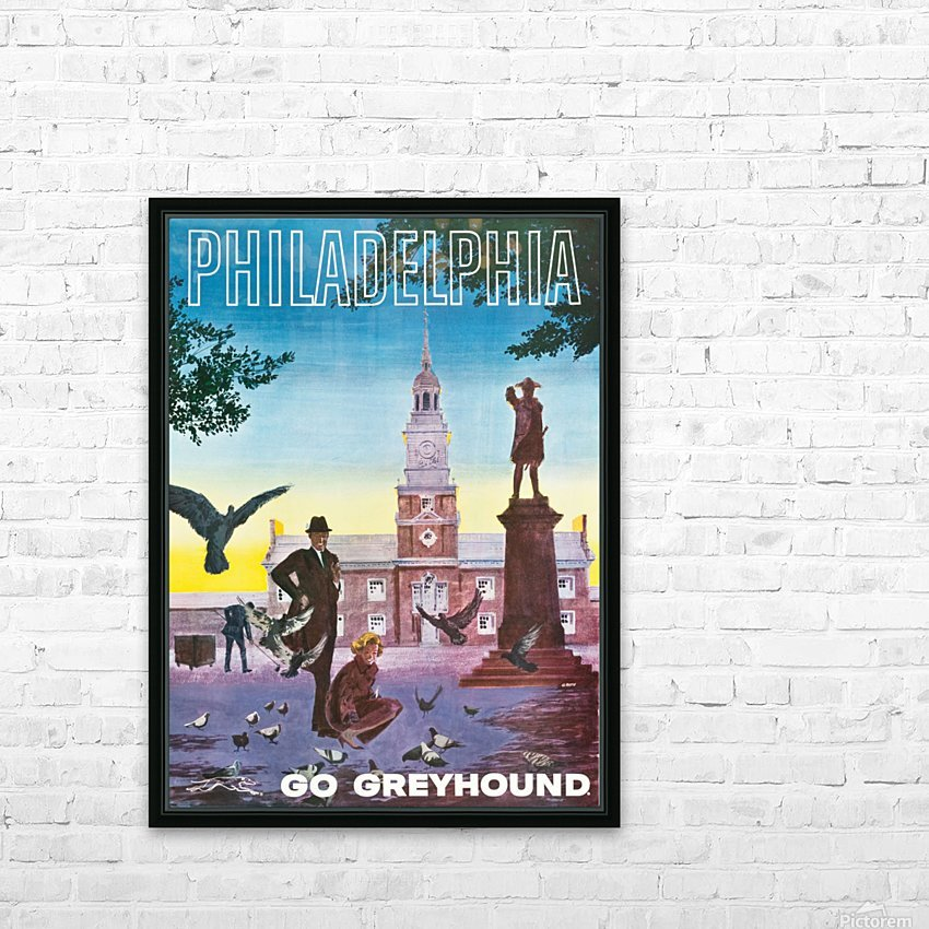 Greyhound Bus Travel Poster for Philadelphia HD Sublimation Metal print with Decorating Float Frame (BOX)