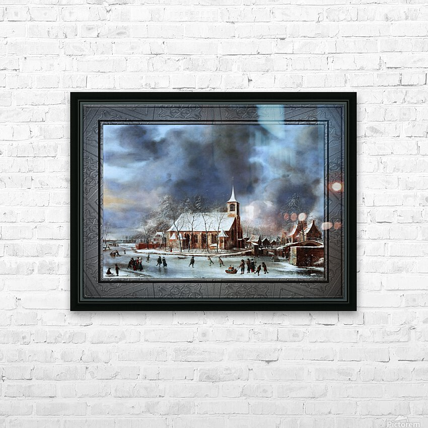 Gezicht op de Kerk te Sloten in de Winter by Jan Abrahamsz Beerstraaten Classical Fine Art Xzendor7 Old Masters Reproductions HD Sublimation Metal print with Decorating Float Frame (BOX)