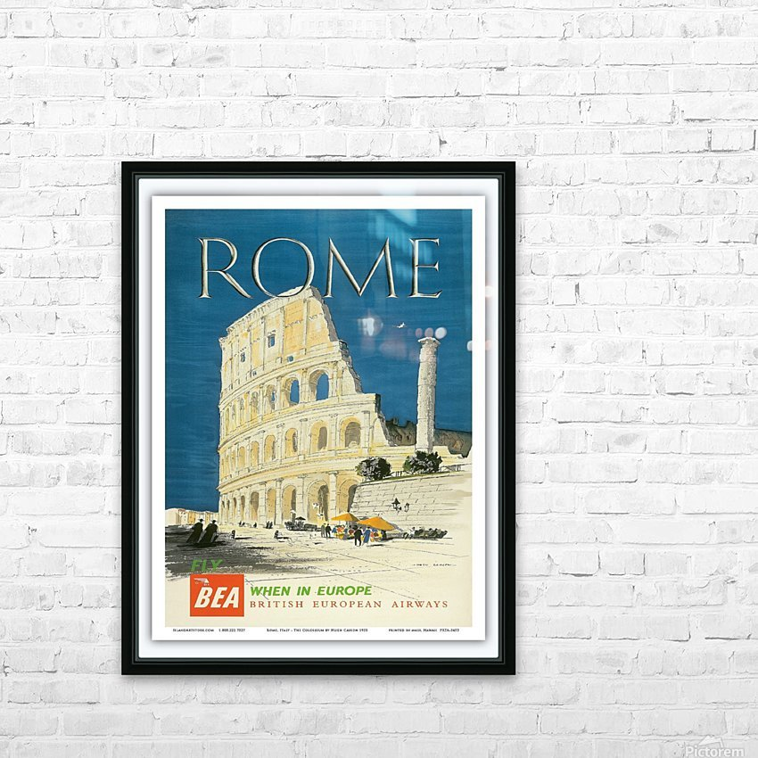British European Airways travel poster for Rome HD Sublimation Metal print with Decorating Float Frame (BOX)