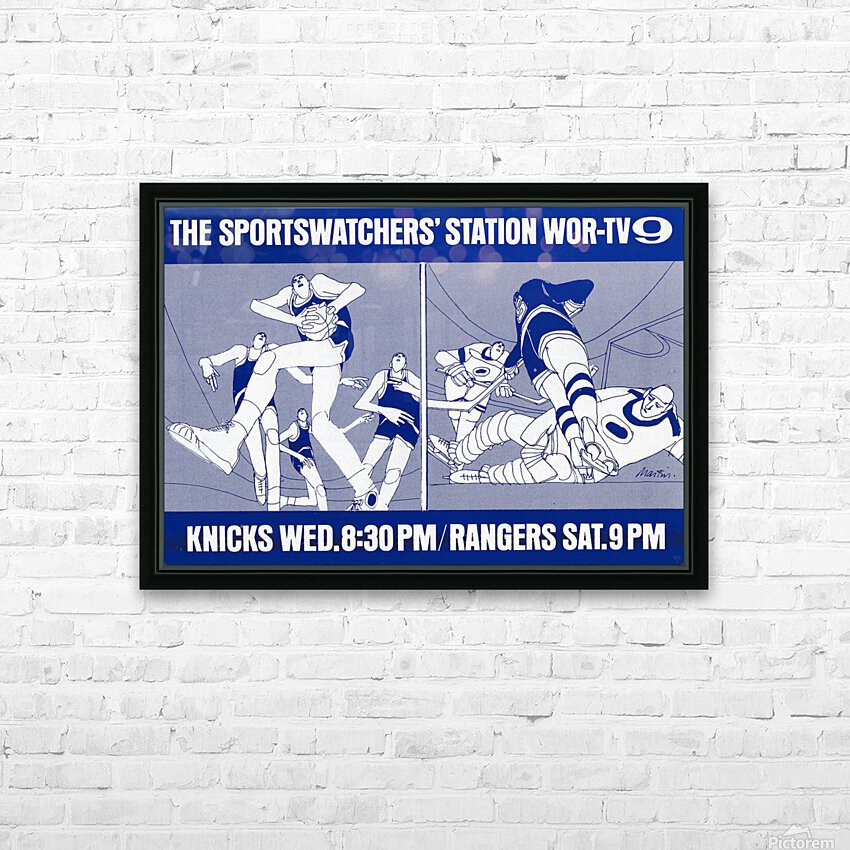 1967 New York Knicks and Rangers WOR TV9 Ad HD Sublimation Metal print with Decorating Float Frame (BOX)
