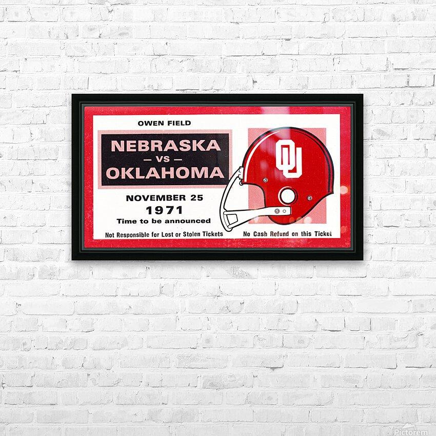 1971 Oklahoma Nebraska Game of the Century Ticket Stub Remix Canvas Art HD Sublimation Metal print with Decorating Float Frame (BOX)