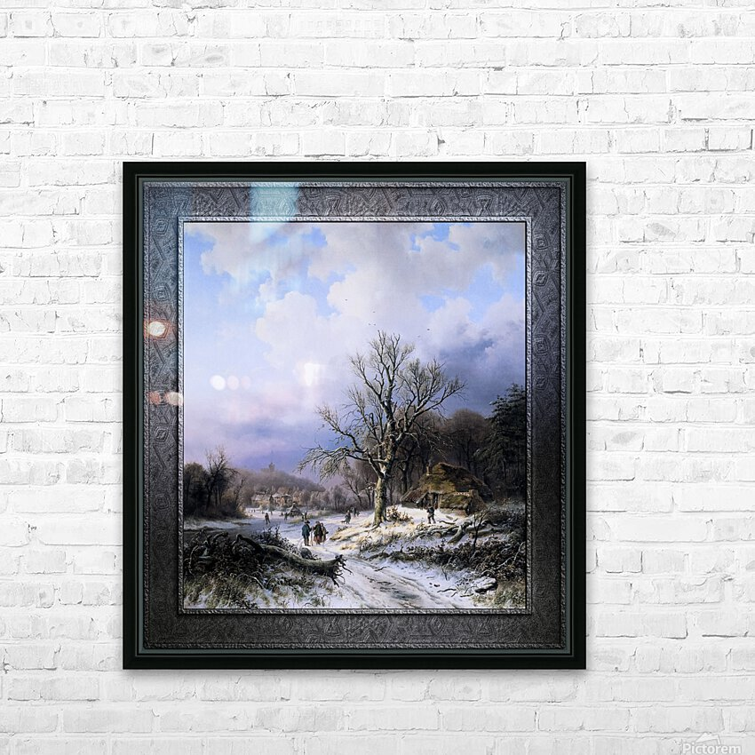 Snow Landscape by Alexander Joseph Daiwaille Classical Art Xzendor7 Old Masters Reproductions HD Sublimation Metal print with Decorating Float Frame (BOX)
