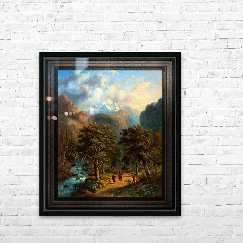 Landscape In The High Mountains by Alexander Joseph Daiwaille Classical Fine Art Xzendor7 Old Masters Reproductions HD Sublimation Metal print with Decorating Float Frame (BOX)