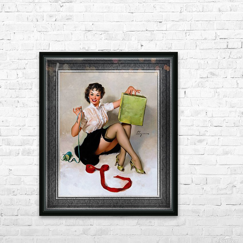 Neat Package by Gil Elvgren Vintage Pinup Illustration Xzendor7 Old Masters Reproductions HD Sublimation Metal print with Decorating Float Frame (BOX)