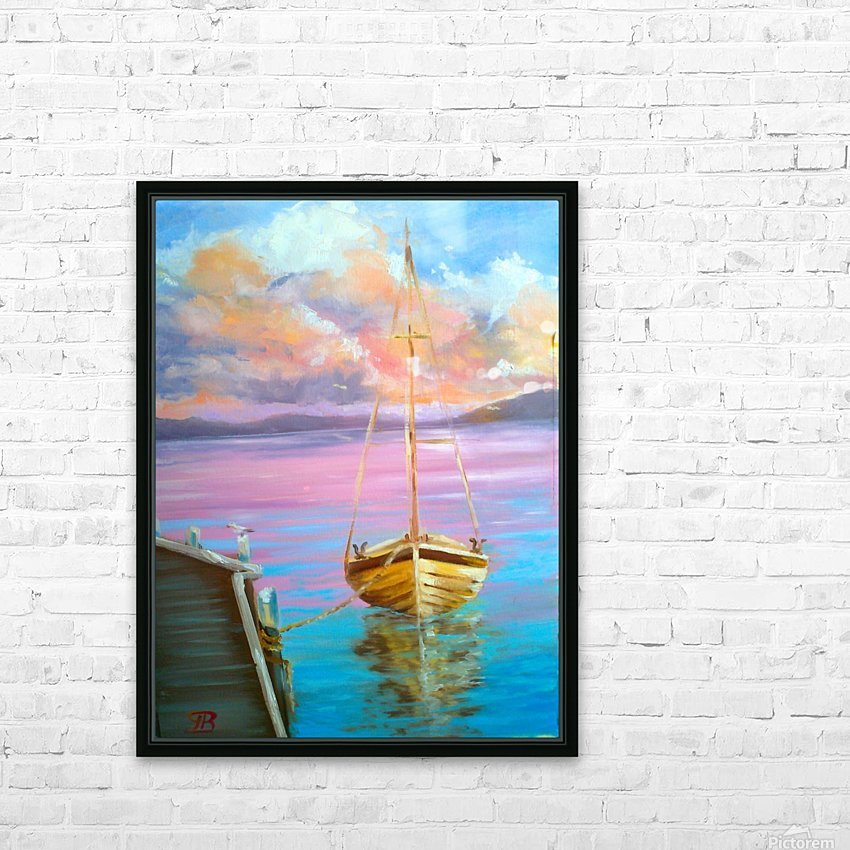 tranquility floating boat patiently waiting for new adventure. HD Sublimation Metal print with Decorating Float Frame (BOX)