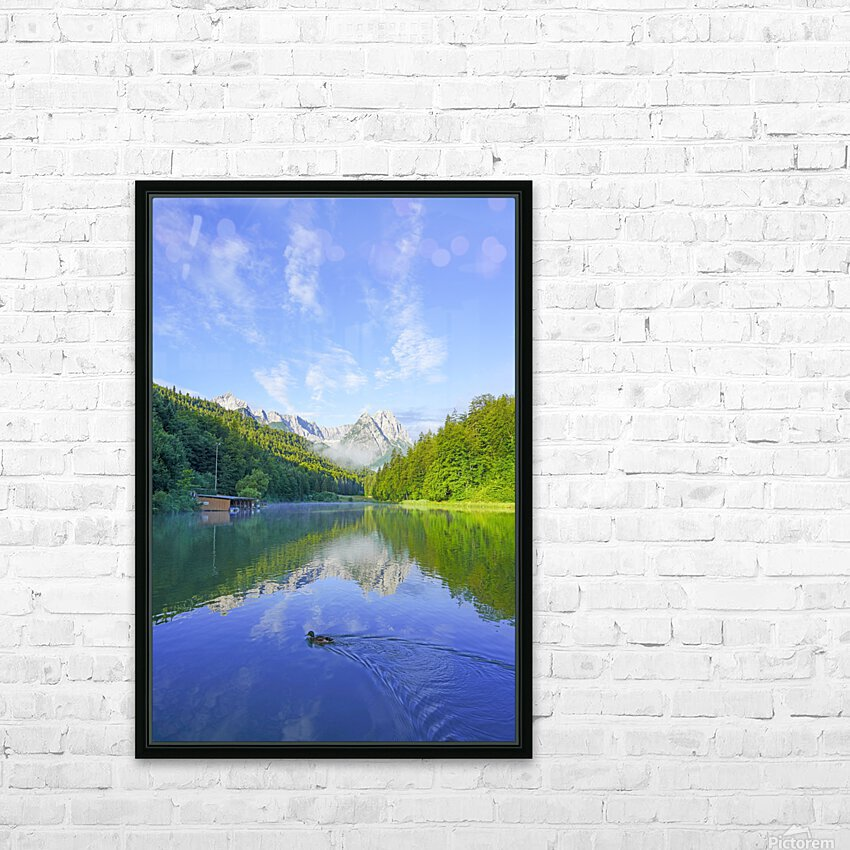 Blue Skies over the Riessersee in the Bavarian Alps near Garmisch Germany HD Sublimation Metal print with Decorating Float Frame (BOX)