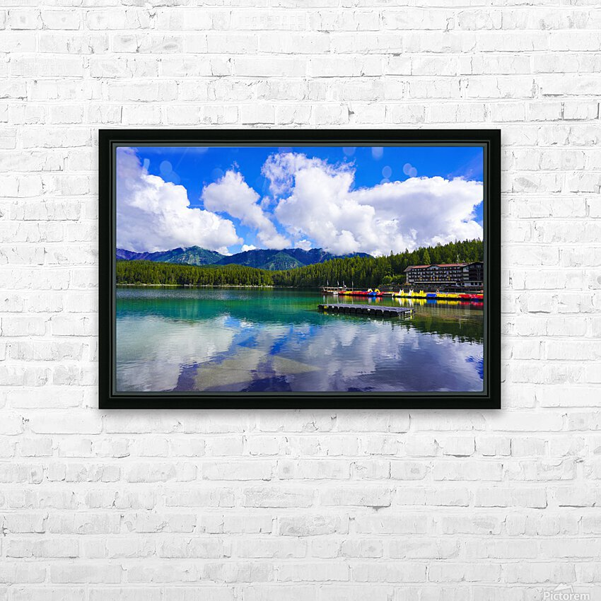Brilliant Blue Skies over Lake Eibsee with Friederalm and Enningalm of the southern Ammergauer Alps in the Background HD Sublimation Metal print with Decorating Float Frame (BOX)