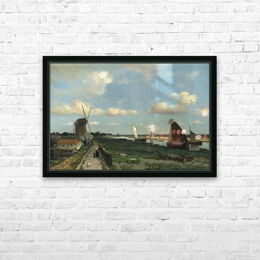 Dutch landscape with mill and figures HD Sublimation Metal print with Decorating Float Frame (BOX)