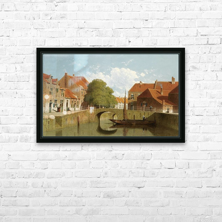 Along the canal in a Dutch town HD Sublimation Metal print with Decorating Float Frame (BOX)