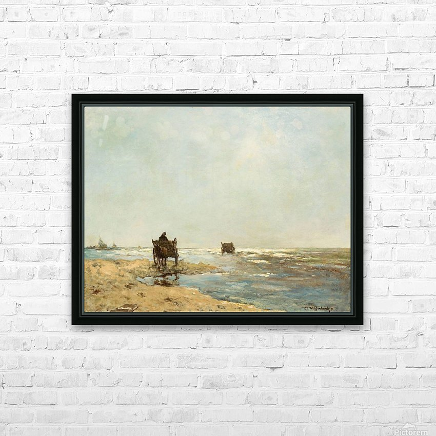 Sunny landscape with lake and figures HD Sublimation Metal print with Decorating Float Frame (BOX)