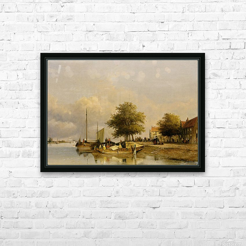 Townsfolk on a quay HD Sublimation Metal print with Decorating Float Frame (BOX)