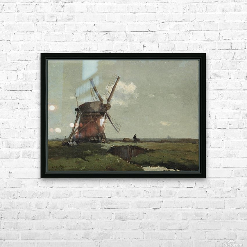Windmill in a polder landscape, near Noorden HD Sublimation Metal print with Decorating Float Frame (BOX)
