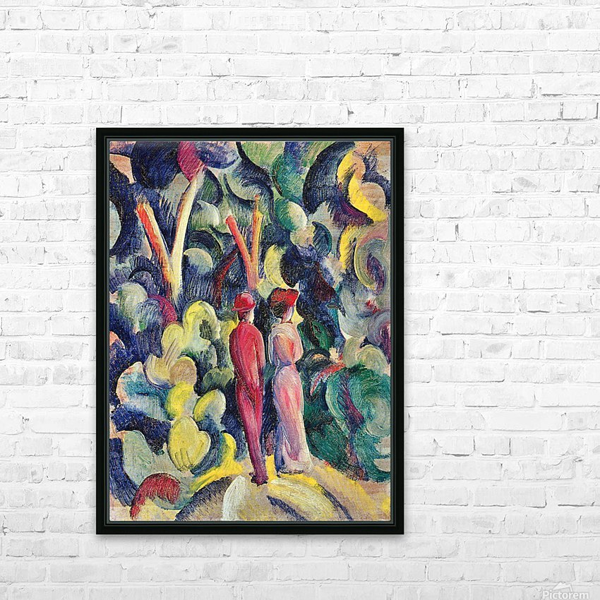 Couple in the forest by August Macke HD Sublimation Metal print with Decorating Float Frame (BOX)
