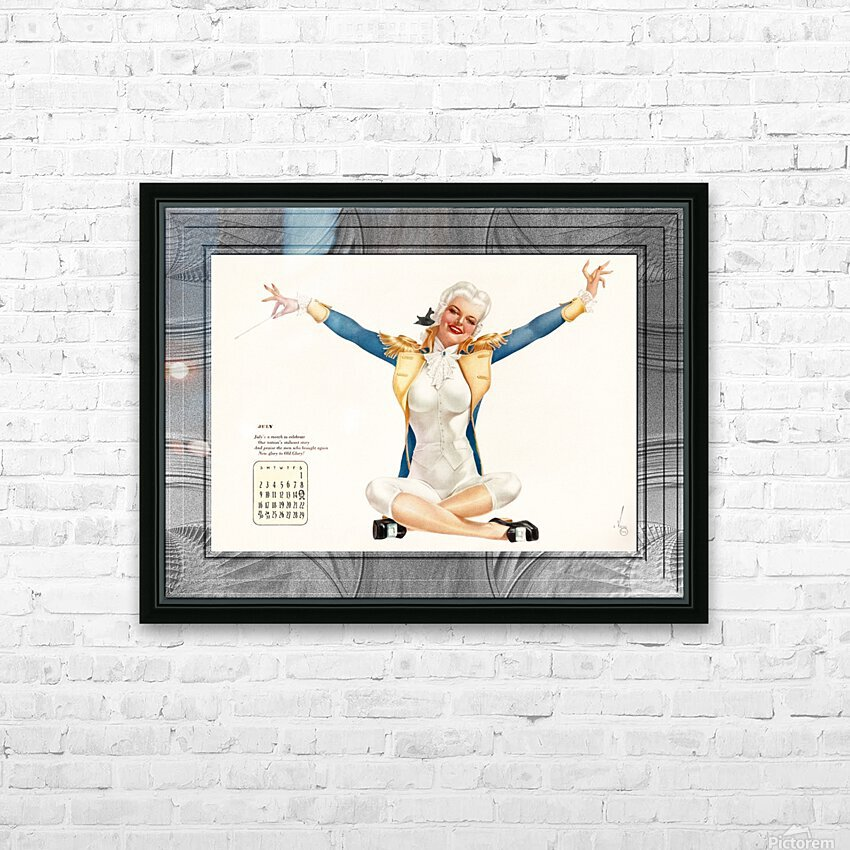 Miss George Washington Celebrating Old Glory by Alberto Vargas Vintage Pinup Girl Xzendor7 Old Masters Reproductions HD Sublimation Metal print with Decorating Float Frame (BOX)