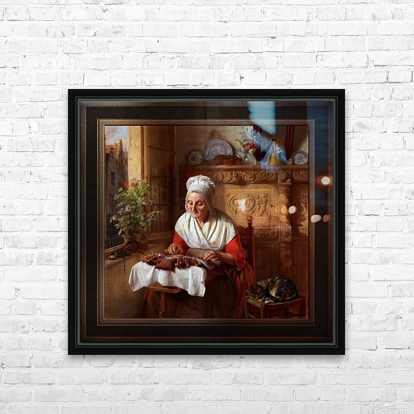 The Lace Maker by Josephus Laurentius Dyckmans Classical Fine Art Xzendor7 Old Masters Reproductions HD Sublimation Metal print with Decorating Float Frame (BOX)