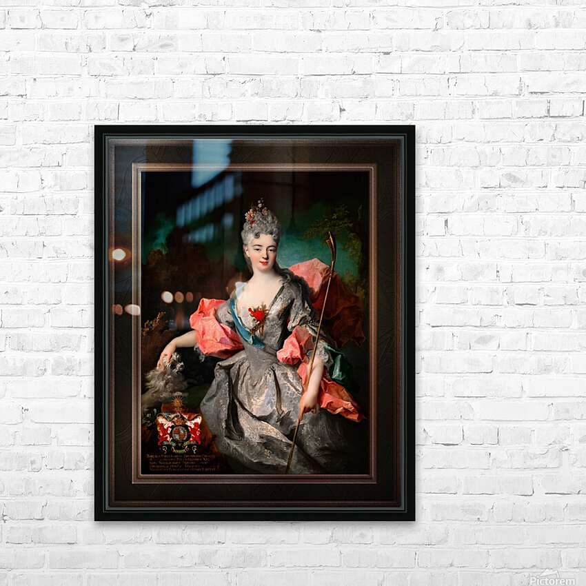 Lady Maria Josefa Drummond by Jean-Baptiste Oudry Classical Fine Art Xzendor7 Old Masters Reproductions HD Sublimation Metal print with Decorating Float Frame (BOX)