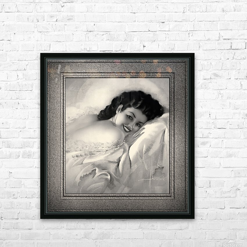 Sweet Dreams by Rolf Armstrong Vintage Illustration Xzendor7 Art Reproductions BW HD Sublimation Metal print with Decorating Float Frame (BOX)