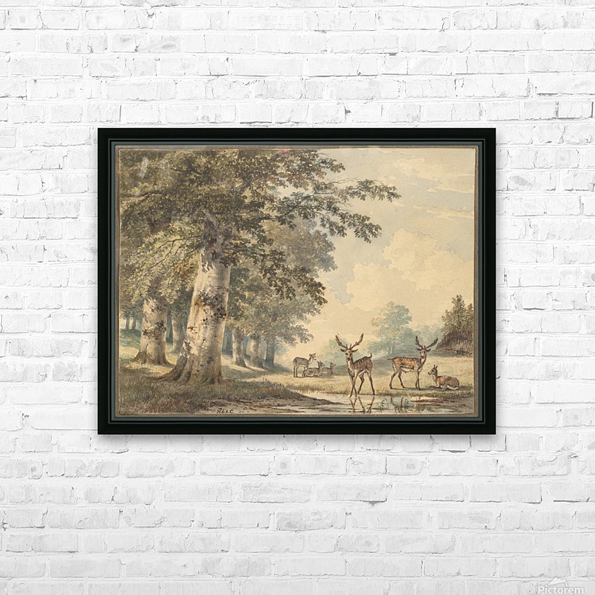 Deer under beech trees in Winter HD Sublimation Metal print with Decorating Float Frame (BOX)