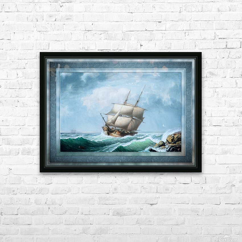 Brig Off the Maine Coast by Fitz Hugh Lane Classical Marine Fine Art Xzendor7 Old Masters Reproductions HD Sublimation Metal print with Decorating Float Frame (BOX)