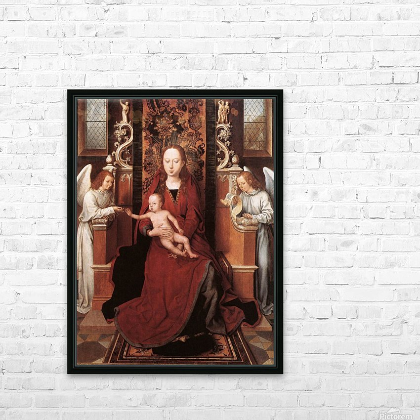 Virgin and Child enthroned with two Angels HD Sublimation Metal print with Decorating Float Frame (BOX)