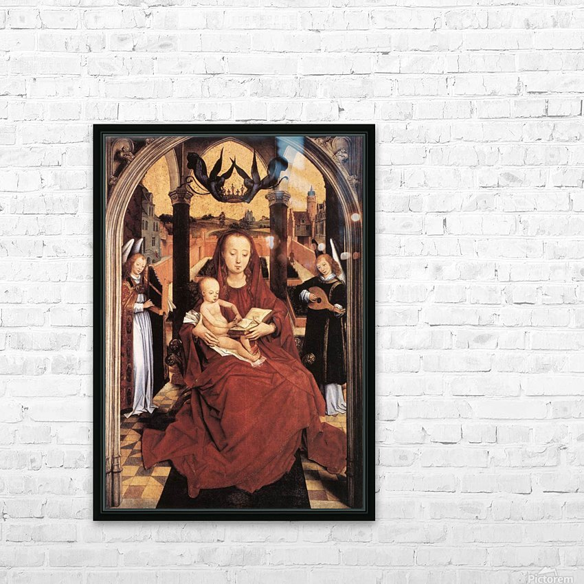 Virgin and Child Enthroned with two Musical Angels HD Sublimation Metal print with Decorating Float Frame (BOX)