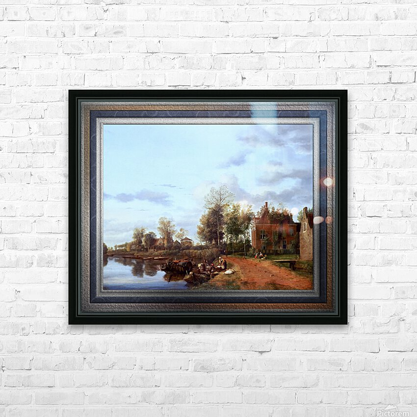 A Country House on the Vliet near Delft by Jan van der Heyden Classical Fine Art Xzendor7 Old Masters Reproductions HD Sublimation Metal print with Decorating Float Frame (BOX)