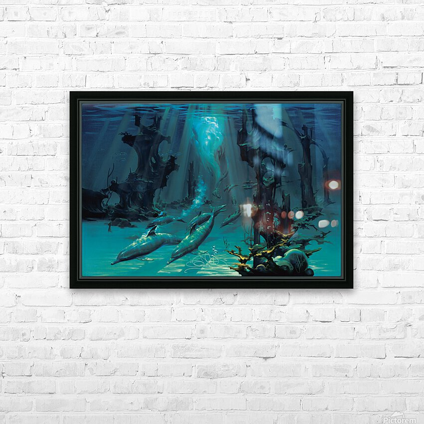 Atlantis Dolphins HD Sublimation Metal print with Decorating Float Frame (BOX)