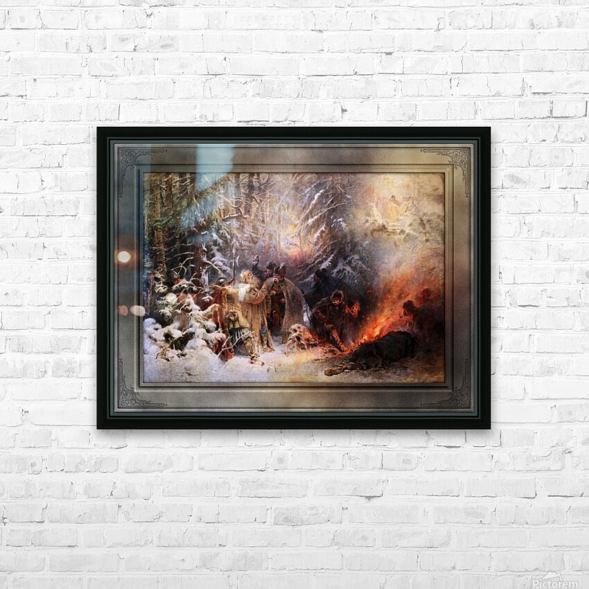 Ivan Susanin by Konstantin Makovsky Classical Fine Art Xzendor7 Old Masters Reproductions HD Sublimation Metal print with Decorating Float Frame (BOX)
