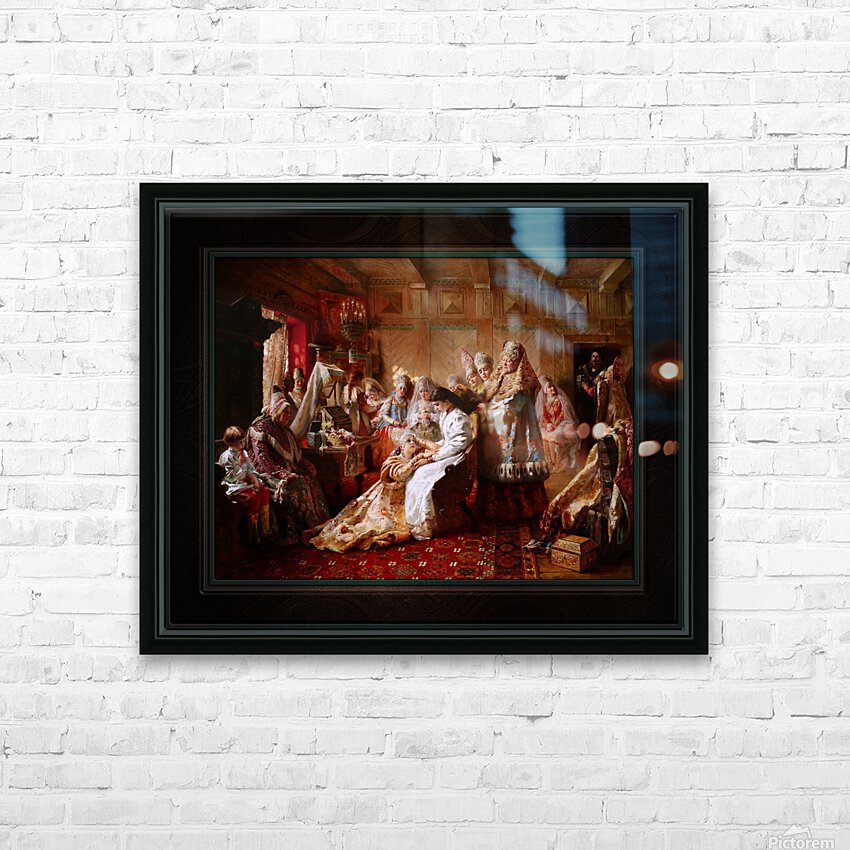 The Russian Brides Attire by Konstantin Makovsky Classical Fine Art Xzendor7 Old Masters Reproductions HD Sublimation Metal print with Decorating Float Frame (BOX)