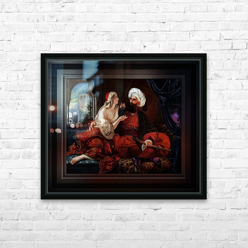 Ali Pasha and Kira Vassiliki by Paul Emil Jacobs Classical Fine Art Xzendor7 Old Masters Reproductions HD Sublimation Metal print with Decorating Float Frame (BOX)