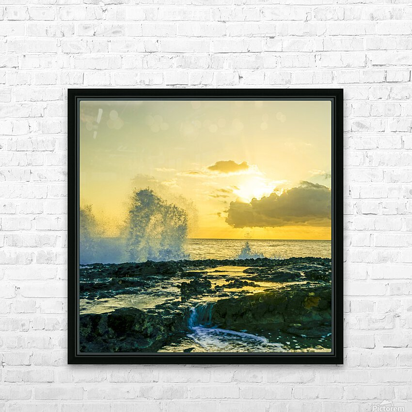 Waves Swirl at the Seaside Hawaii - Square HD Sublimation Metal print with Decorating Float Frame (BOX)