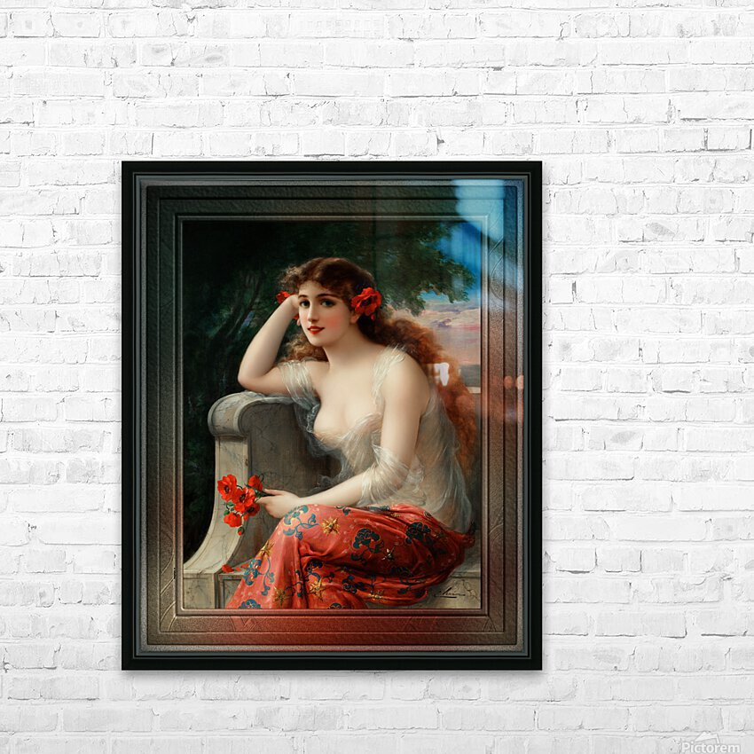 Girl with a Poppy byEmile Vernon Wall Decor Xzendor7 Old Masters Art Reproductions HD Sublimation Metal print with Decorating Float Frame (BOX)
