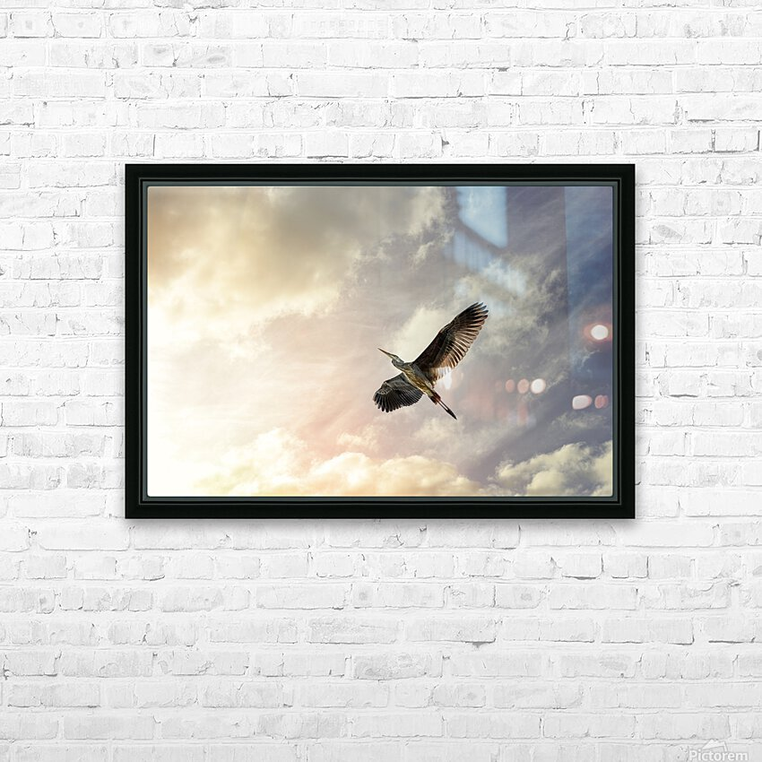 Heron Sunrise HD Sublimation Metal print with Decorating Float Frame (BOX)